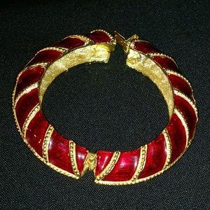 Jewelry - Unknown Marking - Red & Gold Bangle w/ Box Clasp
